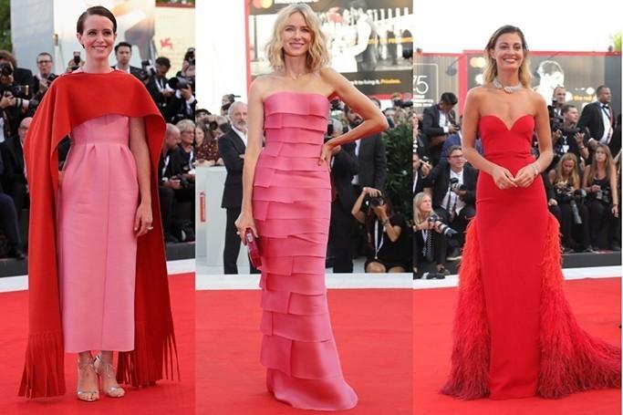 robes de soirée en rose, fuchsia et rouge aux Festival du Film de Venise 2018