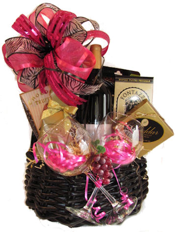 romance wine glasses valentines day gift basket