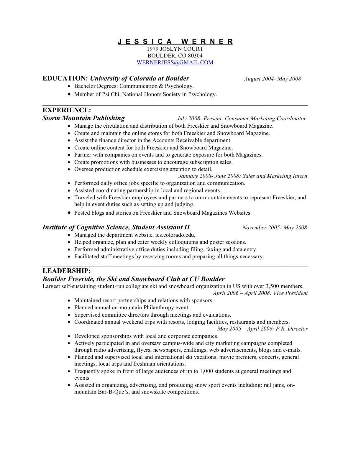 interests in resume