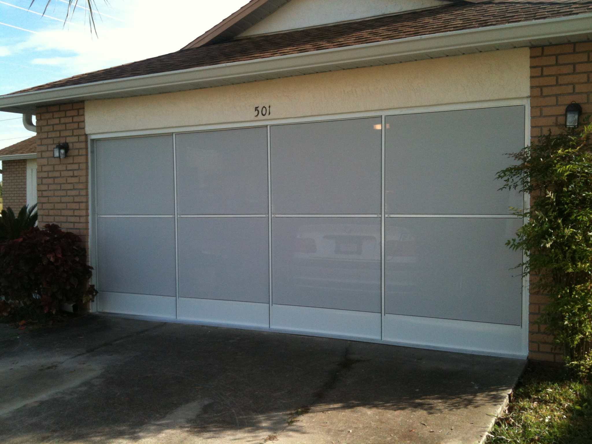 Garage screen door with white screen