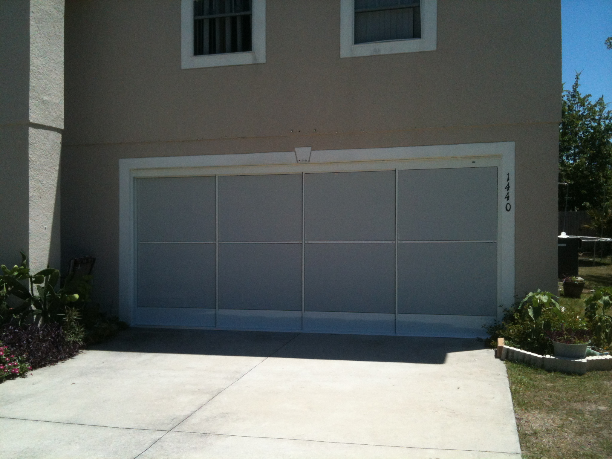 white on white garage screen door