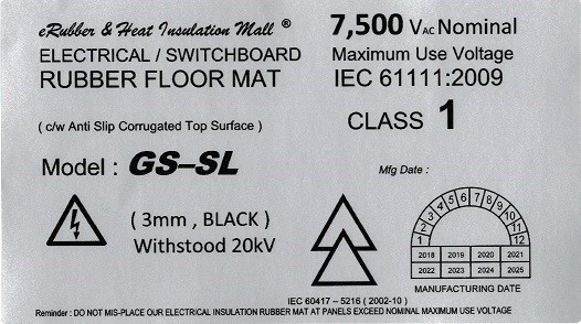 Medium voltage electrical insulation rubber mat label Malaysia