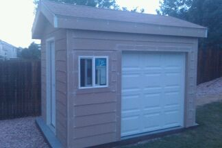 This Is A 8x10 Gable Shed Built By GGD. This Included Lap Siding, Golden  Shingles, 1 Exterior Steel Door, 1 Frosted Glass Window, A 6x6 Garage ...