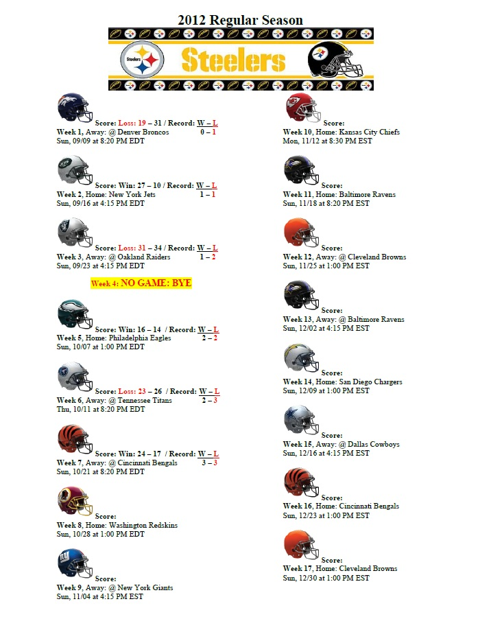 2013 nfl schedule steelers horse playoff contenders this 2012 2013 nfl