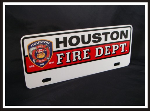 Upper Firefighter Vehicle Licence Plate - Houston - Traditional with Logo (NG-1030UF)