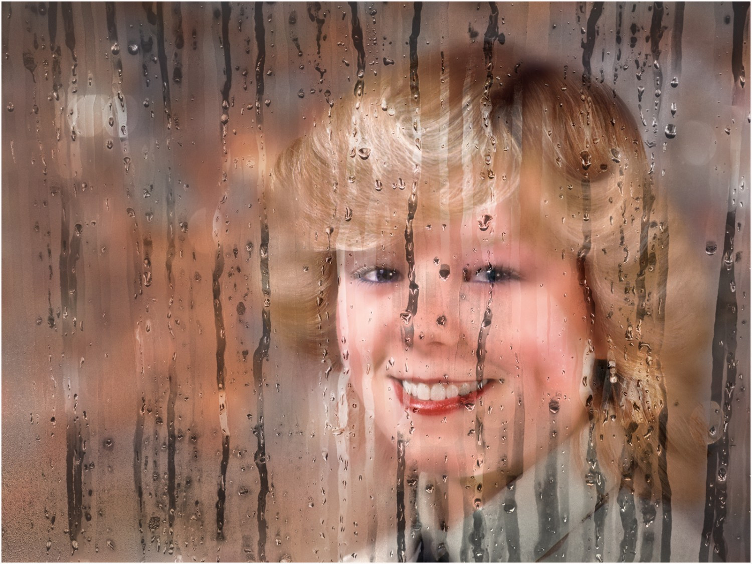 Girl Behind wet glass