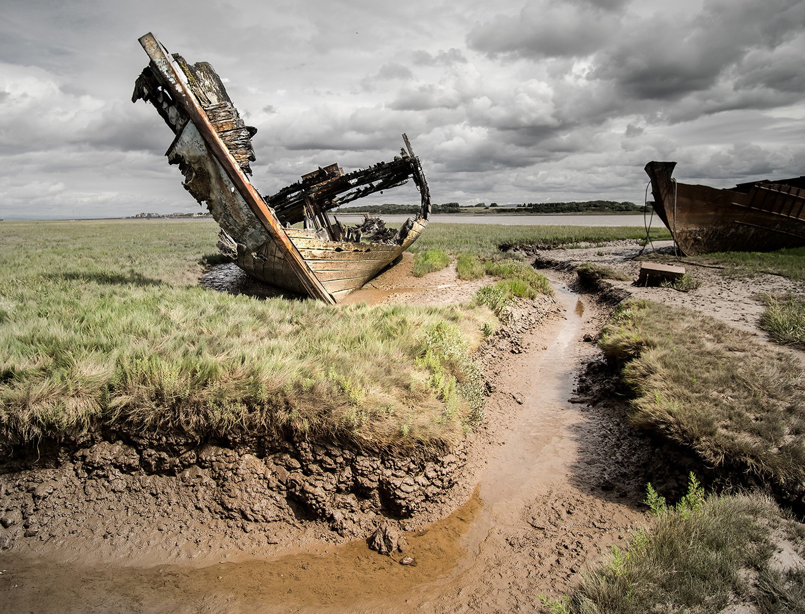 The wrecks at Fleetwood  Marsh Nature Reserve. by Bill Smith