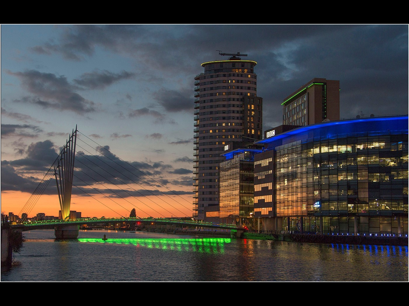 Footbridge & Media City Illuminated, Salford Quays