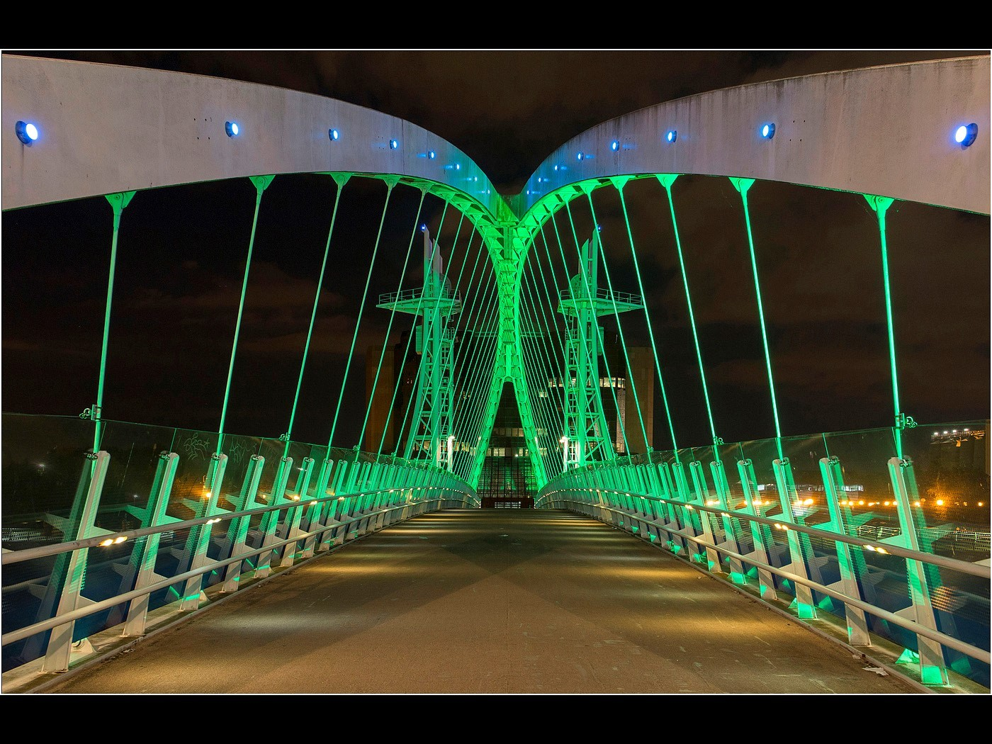 Illuminated Millenium Bridge, Salford Quays