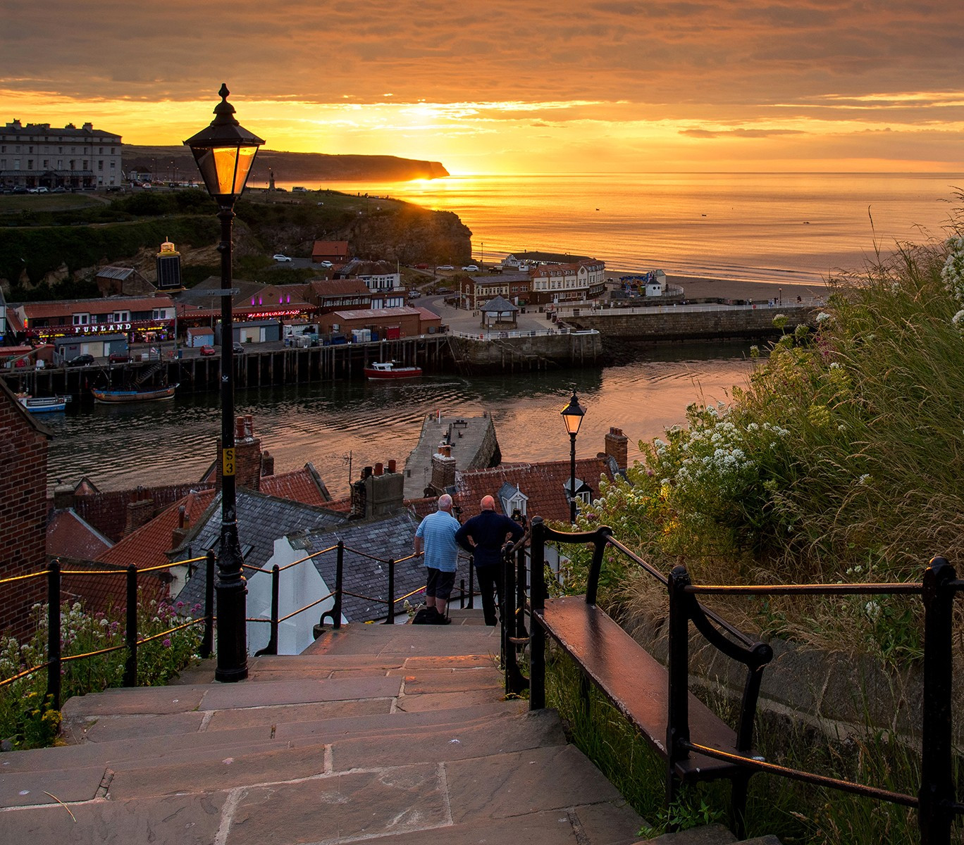Sunset on the 199 steps to Whitby Abbey  .
