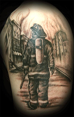 firefighter tattoo galleries. Black Bedroom Furniture Sets. Home Design Ideas
