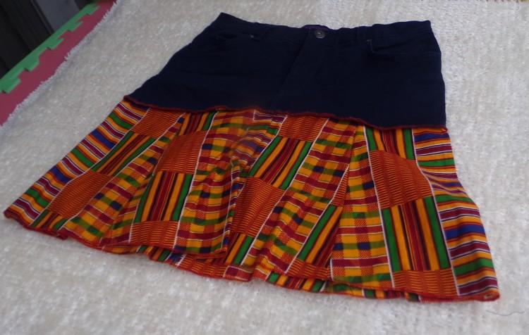 Catrina Village Catrina Nebo Kente Jeans Skirt