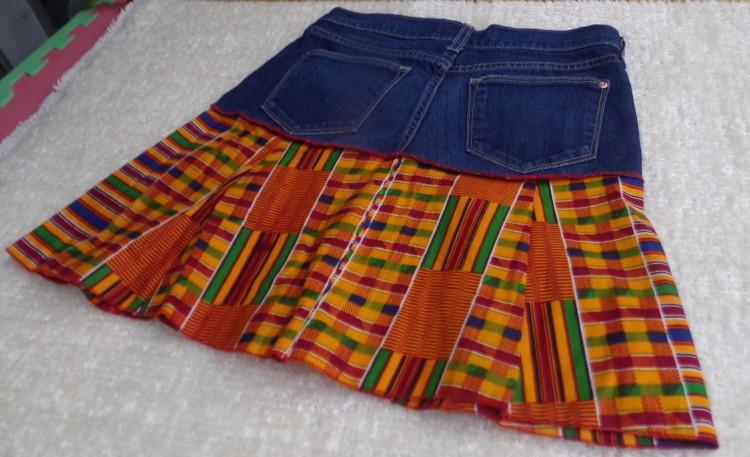Catrina Village Catrina Nebo Kente Jeans Skirt CV5 $20