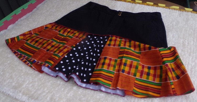 Catrina Village Kente, Jeans, Polka Dot Skirt
