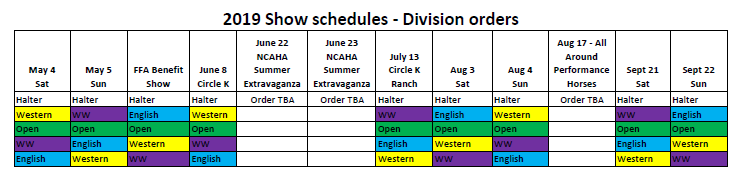 Show Schedule | Triangle Wide Horseman's Association