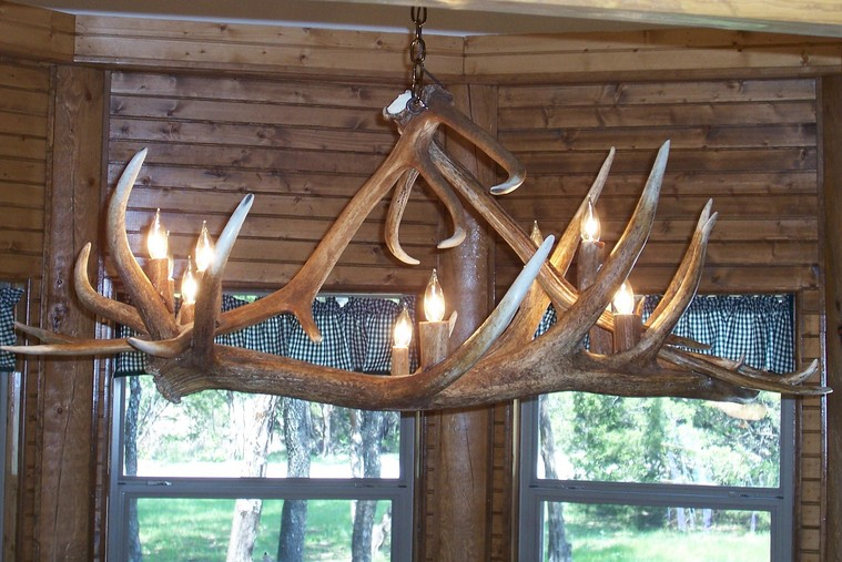 Antler chandeliers 4 antler dining room table light made from 2 very large elk antlers along the bottom with 2 more large elk antlers holding it to the chain aloadofball Image collections