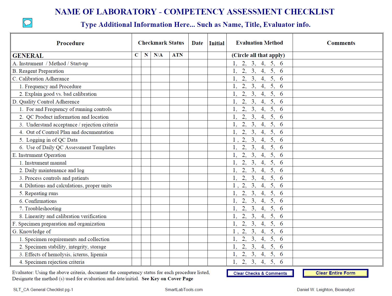 SmartLabTools | SLT_Competency Assessment Forms