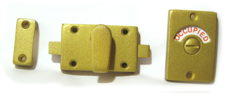 aged brass bathroom indicator lock