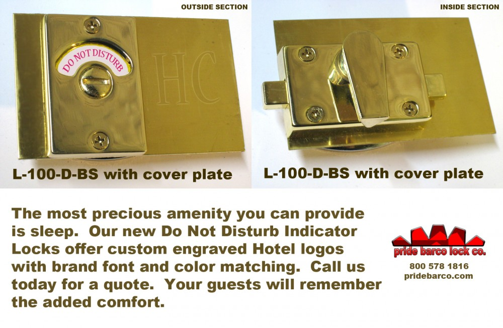 Do Not Disturb Lock, Custom Hotel Privacy Lock, Custom Hotel Logo Engraving