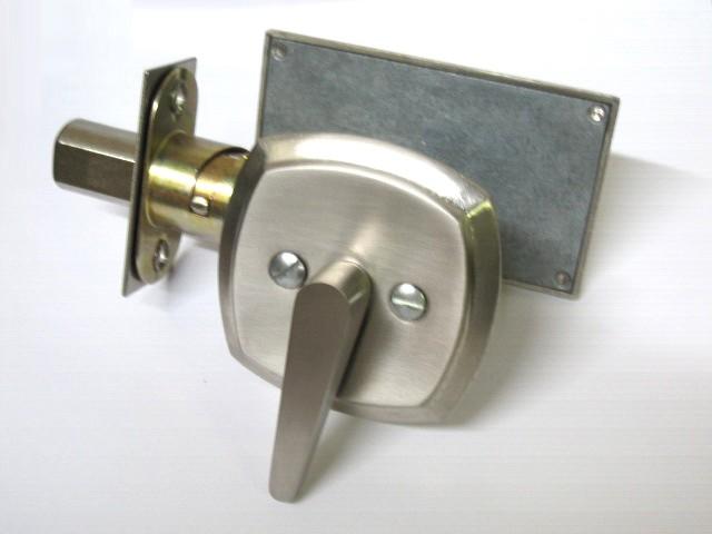 Brushed Nickel Privacy Lock ADA, Occupancy Indicator Deadbolt Brushed Nickel, Restroom Privay Lock