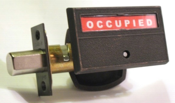 Occupied vacant privacy lock, antique bronze occupancy indicator lock