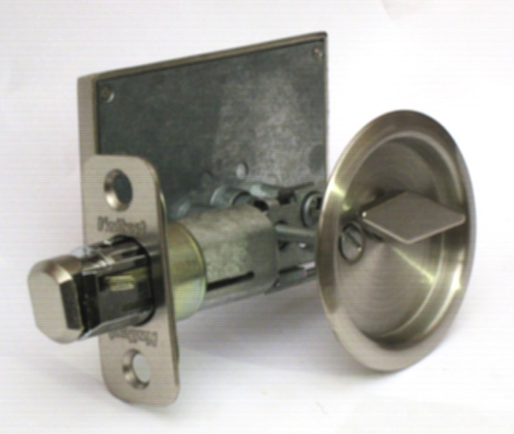 satin nickel privacy lock barn doors, pocket door indicator lock, occupied vacant barn door lock