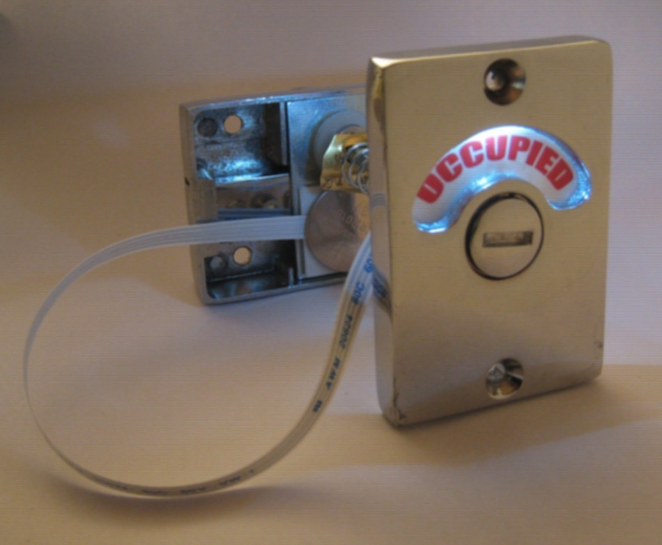 occupied vacant bathroom lock, privacy indicator lock led, lighted occupied sign
