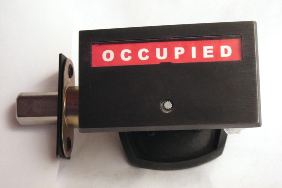 dark bronze bathroom indicator lock, dark bronze occupied lock, black bathroom privacy lock