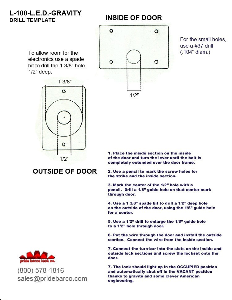 led indicator bolt template, l-100 pride barco, indicator lock template