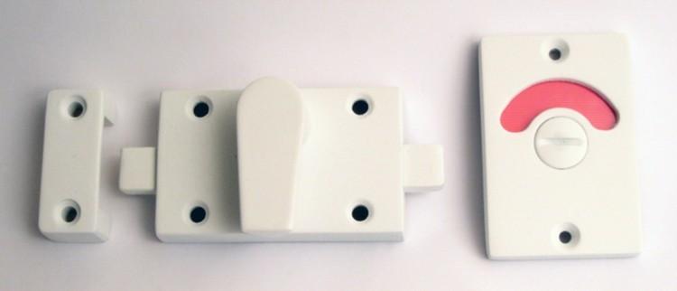 flat white privacy door lock, indicator lock white, clean room door indicator