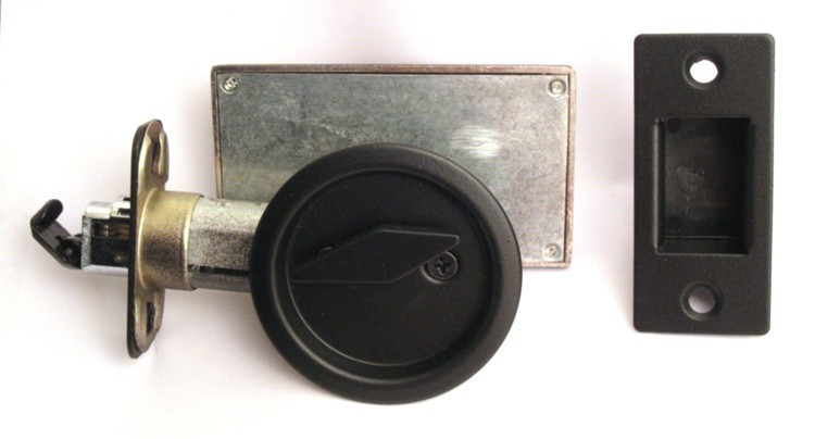 satin black pocket door indicator lock