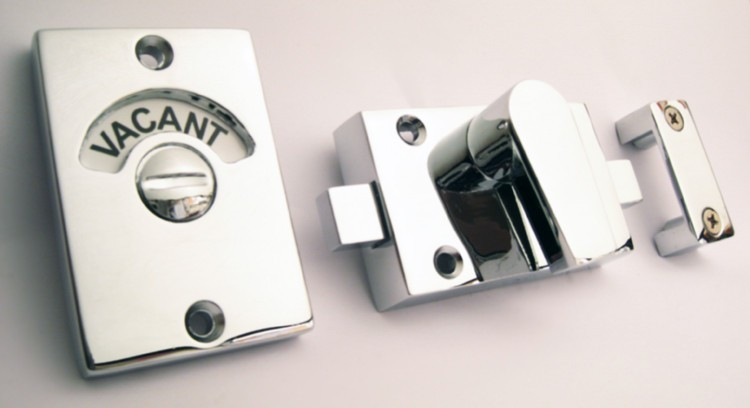 vacant engaged black text, bathroom indicator lock chrome