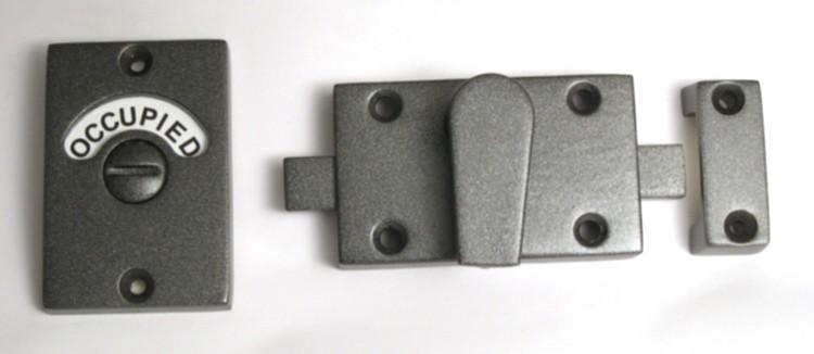 iron finish bathroom indicator lock, flat soft iron bathroom lock