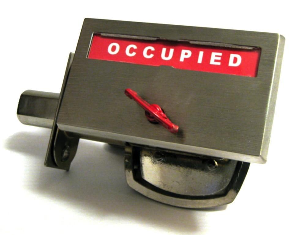 satin nickel plated occupied door lock