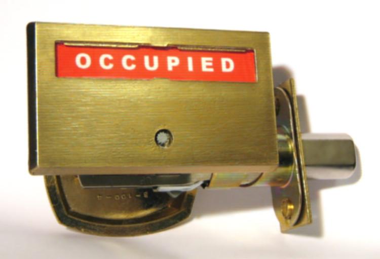 satin brass bathroom privacy lock, occupied satin brass