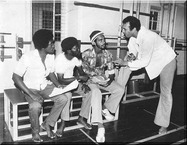 Tracy Connell teaching theatre early 1970's St. Vincent & Grenadines