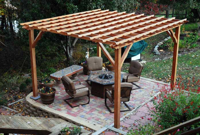 how to build a backyard pergola simple diy woodworking. Black Bedroom Furniture Sets. Home Design Ideas