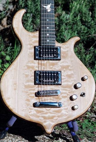 custom electric guitar 12th fret MOP dove inlay bookmatched figured maple cap