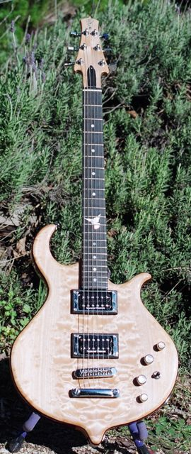 semihollow neck through body electric guitar bookmatched figured maple cap custom inlay 12th fret