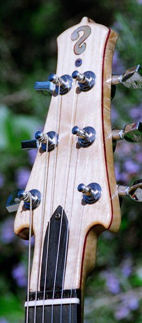 straight pull headstock purpleheart and figurd maple veneer