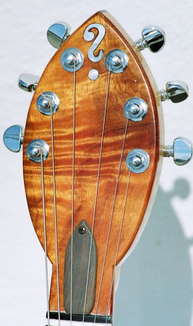 handmade semihollow neck through body electric guitar koa