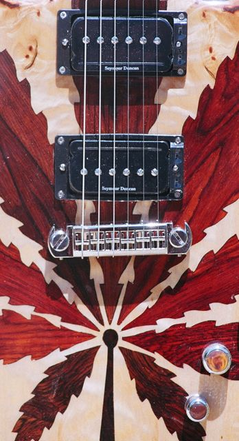 duncan P-Rails with Triple Shot switching rings, custom leaf inlay pattern