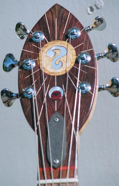 handmade electric guitar custom headstock inlay