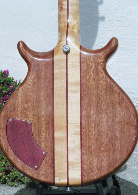 handmade semihollow neck through body electric guitar maple burl