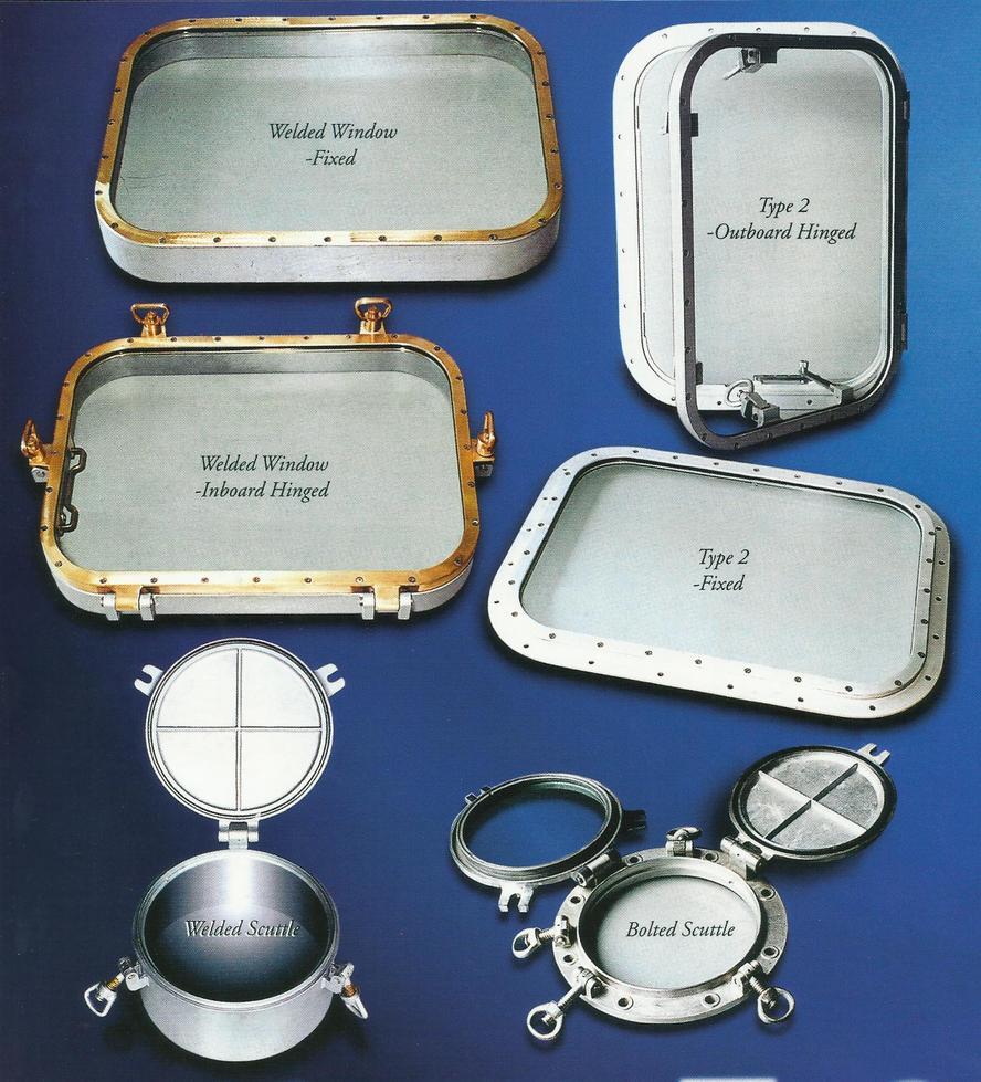 Brass Fixed Rectangular Marine Glass Windows , Custom Marine Windows