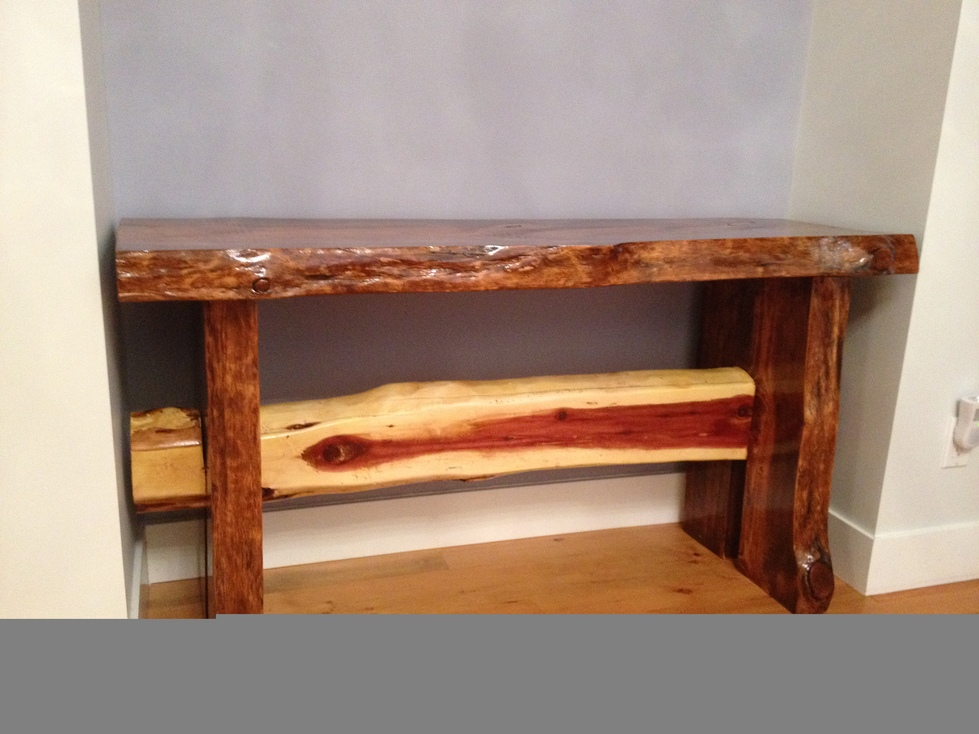 side board 3inch thick bc fir 30 inch high matches table on left