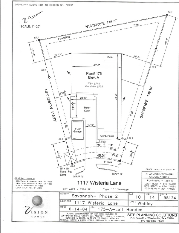 Examples Home site plan