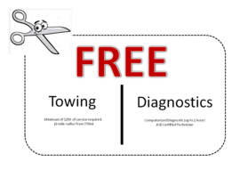 Free Towing And Diagnostics With 250.00 Service