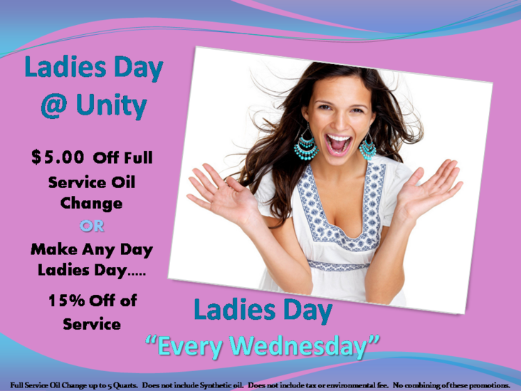 Ladies Day At Unity 5.00 Off Oil Change