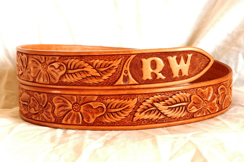 Hand tooled western leather belts custom